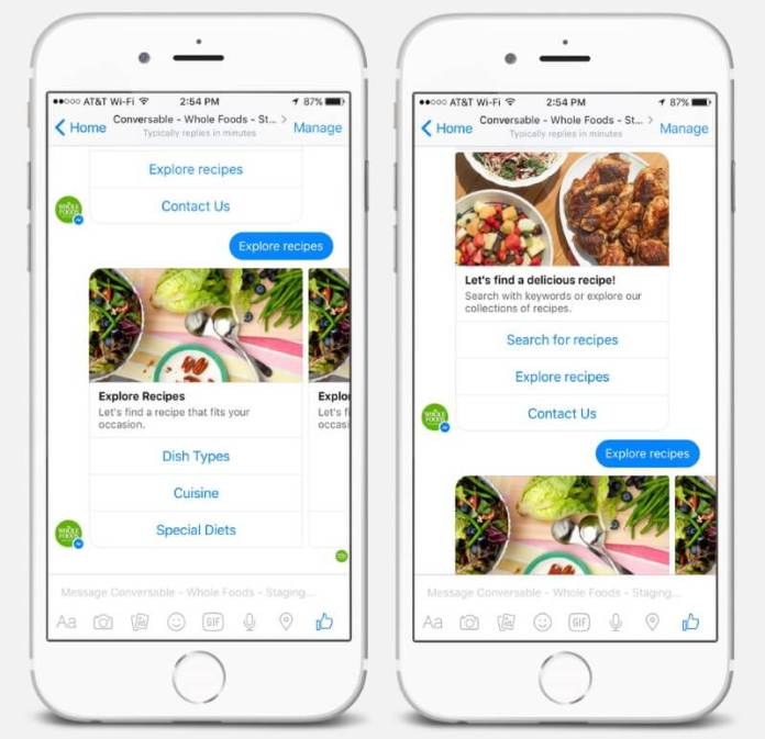 Chatbot - Whole Food's Chatbot based on Facebook Messenger