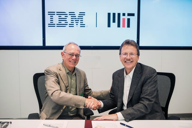Image Credit - MIT. MIT President L. Rafael Reif, left, and John Kelly III, IBM senior vice president, Cognitive Solutions MIT–IBM Watson AI Lab