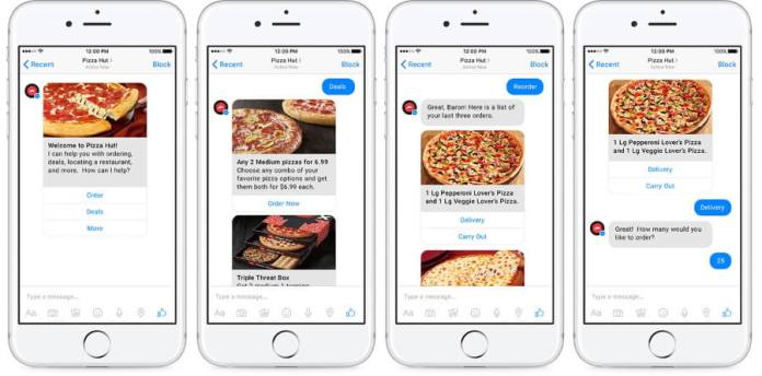 Pizza Hut's Messenger chatbot
