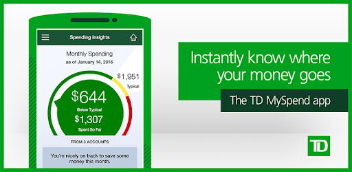 TD Bank's MySpend app allows users to track their spending habits is powered by Moven