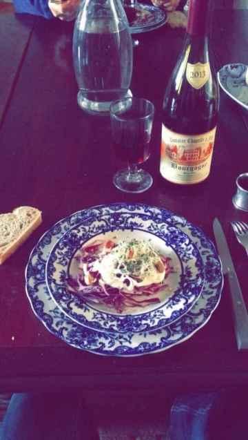 Repas, Table d'hôtes de la Maison du Tisserand de l'abbaye de Flavigny - En Bourgogne