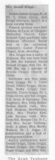 Beulah (Sheppard) Griggs Obit