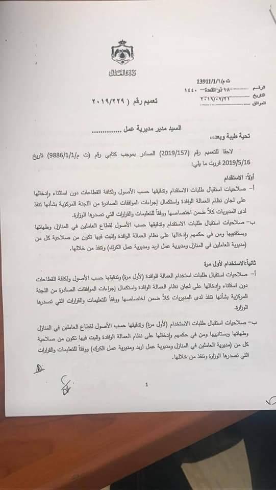 عقود العمل في الأردن