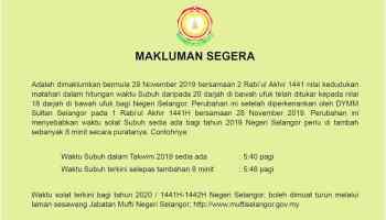 Waktu Solat Subuh Di Terengganu Ditambah Lapan Minit Bermula Sabtu Alhijrah Online