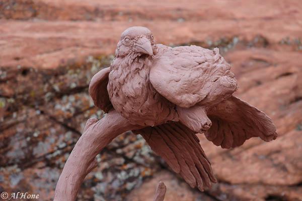 Bronze sculpture, Al Hone, Raven