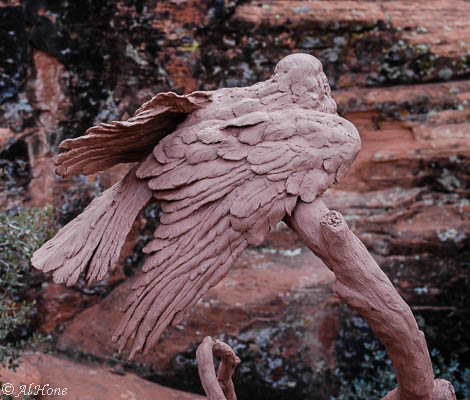 Bronze sculpture, Al Hone, Raven
