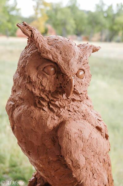 sculpture, hidden wisdom, owl, al hone