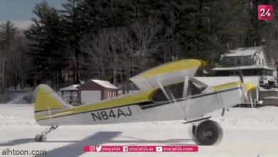 شاهد: لحظة هبوط طائرة على بحيرة متجمدة - صحيفة هتون الدولية