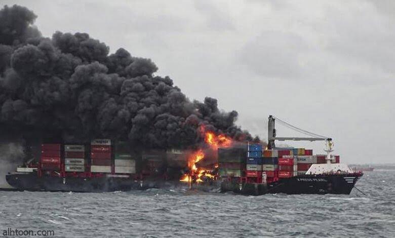 شاهد: محاولة إخماد حريق سفينة سيريلانكا - صحيفة هتون الدولية