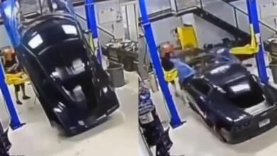 لحظة سقوط وتحطم هيكل سيارة - صحيفة هتون الدولية