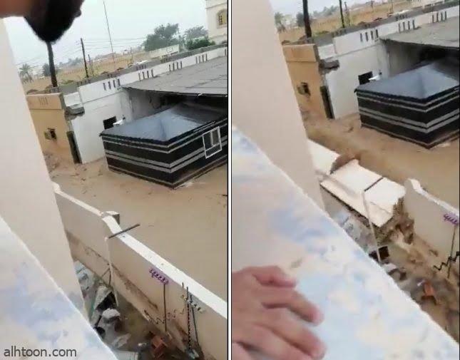 شاهد: انهيار جدران منزل بسبب إعصار شاهين