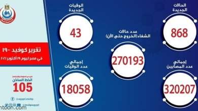 الصحة المصرية: 868 إصابة بكورونا - صحيفة هتون الدولية