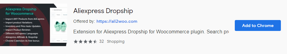 Ali2Woo Chrome extension in Chrome web store