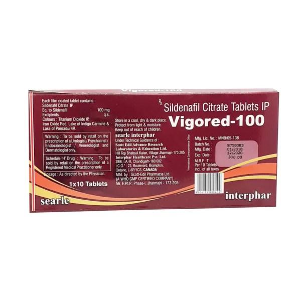 Sildenafil Citrate Vigored-100 Tablets