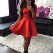 Fashion-Women-s-3-4-Sleeve-Sexy-Winter-Evening-Party-Bodycon-Mini-Skater-Dress3