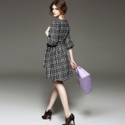 Fasicat-New-Brand-Retro-Women-Plaid-Dress-Lantern-Sleeve-Sashes-Front-A-Line-Pleated-Dresses-Ladies3