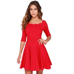 Tengo-Women-Slim-Flared-Tunic-Corrugated-Neckline-Red-Dress1