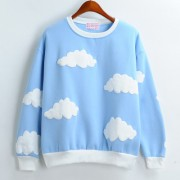 2015-Dongguk-new-clouds-print-fleece-female-loose-round-neck-sweatshirt-for-girls-1-5