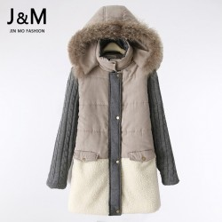 2015-High-Quality-Natural-Fur-Collar-Winter-Coat-Women-Warm-Parkas-Wool-Patchwork-Jacket-Plus-Size-1