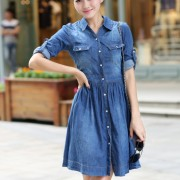 2015-new-fashion-women-denim-dresses-Half-Roll-Sleeve-Long-Denim-Dresses-smoke-banding-denim-dress-3