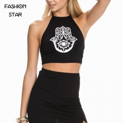 Fashion-Star-Lady-Sleeveless-Round-Neck-Black-Printing-Backless-Women-s-Crop-Top-Brand-New-Plus-1