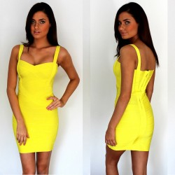 Free-Shipping-Summer-Dress-2015-Ladies-Casual-Clothes-Spaghetti-Strap-Bodycon-Yellow-Bandage-Dress-9-Colors-1