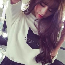 New-Arrival-Fashion-O-neck-Broadcloth-Cotton-Short-Sleeves-Cat-Printed-Appliques-Solid-Women-T-shirts-1