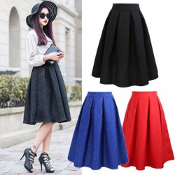 Plus-Size-Vintage-Skirt-New-Fashion-2015-Spring-Casual-Pleated-Knee-length-Midi-Skirt-Ball-Gown-1