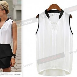 Short-Casual-Chiffon-Shirt-Sleeveless-Feminine-Blouses-White-Patchwork-Stand-Collar-Women-Tops-And-Summer-Blouses-1