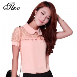 TLZC-Hot-Floral-Pattern-Lady-Chiffon-Shirts-Pink-Large-Size-S-3XL-Lace-Patchwork-Doll-Collar-1
