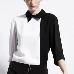 White-Black-Women-Blouse-Contrast-Long-Sleeve-Turn-Down-Shirt-Collared-Casual-Women-Shirt-2015-Spring-1