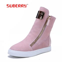 SUBERRY-Handmade-Black-Pink-Zipper-Russia-Warm-Boots-Women-s-Fashion-Sheepskin-Snow-Boots-With-Metal-1