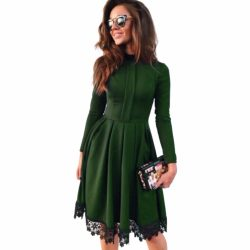 2016-Autumn-Winter-Dress-New-Fashion-Women-Long-Sleeve-Slim-knee-length-Lace-patchwork-Green-Party-1
