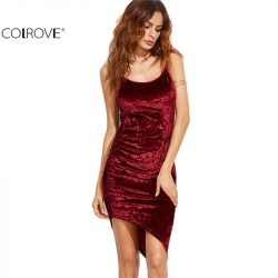 COLROVE-Burgundy-Ruched-Asymmetric-Velvet-Cami-Dress-Sexy-Ladies-Club-Wear-Sleeveless-Slip-Bodycon-Mini-Dress-1