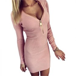 Vestidos-2016-Autumn-Women-Dresses-Zipper-O-neck-Sexy-Knitted-Dress-Long-Sleeve-Bodycon-Sheath-Pack-1