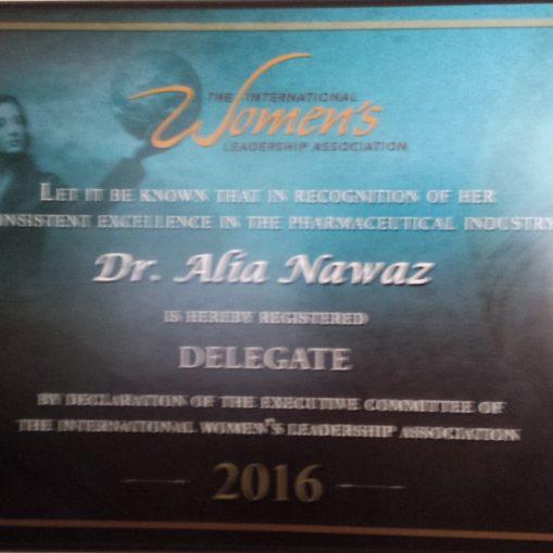 Dr. Alia Nawaz, Delelgate