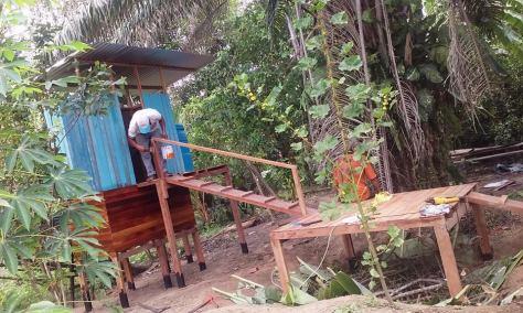 painting eco-latrine