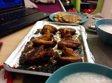 Baked chicken glazed with honey, congee and green onion biscuits.