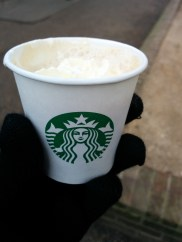 Caramel mochaccino sample from Starbucks.