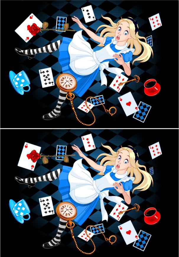 アリスの間違い探し(落ちている景色が違う)