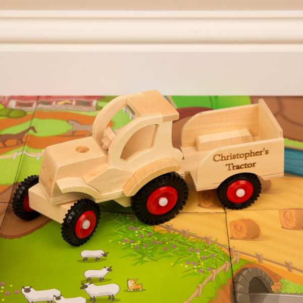 Personalised Wooden Tractor with Trailer