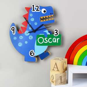 Dinosaur Shape Wooden Clock