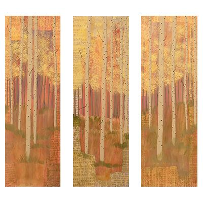 tryptic, painting, trio of paintings, grouping, aspen trees, aspen forest, trees, landscape paintings, representational art, intuitive, colleges, mixed media art, fine art prints, peaceful images, wood panels, visual arts, mixed media