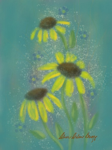 Floral Bethel digital painting sunflower daisy forget-me-not