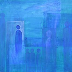 Blues Abstract Figures Worship Painting Provision Acrylic Painting Abstraction Interior Design Ideas Design Inspiration