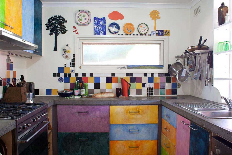 The colourful kitchen at Alice Barker House.