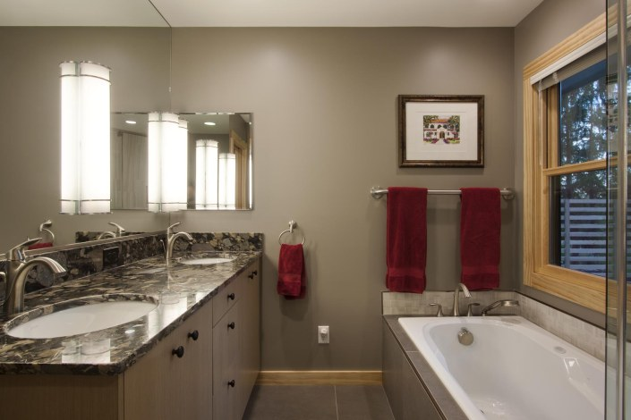 north asheville ranch remodel bathroom dual sink bathtub modern