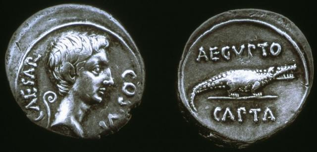 "Coin Issued Under Octavian-Augustus 31BC that commemorates his victory over Antony and Cleopatra in 31 BC. The obverse reads Aegypta Capta, ""Egypt has been conquered"""