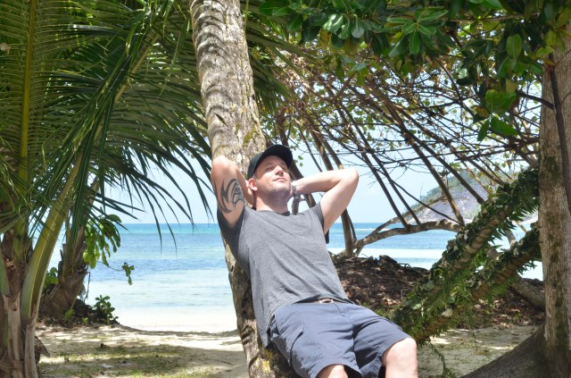 Daddy-to-be relaxed at The Seychelles