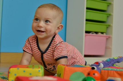 Nearly seven months of age, at nursery